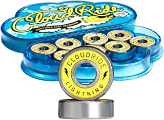Cloud Ride! Lightning Skateboard Bearings Yellow, ABEC-7 for Premium Speed and Smoothness, Double-Sealed, Nylon Retainer, Lightning Oil Lubricant, Chrome Steel