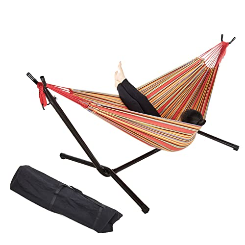 """Pinty 76"""" x 57"""" Cotton Hammock with Steel Stand & Portable Carrying Bag Up to 450lbs (Red Stripe)"""