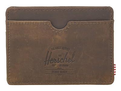 Herschel Supply Co. Charlie RFID (Nubuck Brown Leather) Wallet Handbags