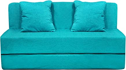 Aart Store High-Density Foam Sofa Cums Bed Furniture One Seater 3x6 Feet with Two Cushion Perfect for Guests Sky Blue Color