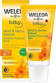 WELEDA Baby Calendula Wind und Wetter Balsam, Naturkosmetik Gesichtscreme und Handcreme für den Schutz von trockener Haut vor rauer Witterung und Kälte 1 x 30 ml