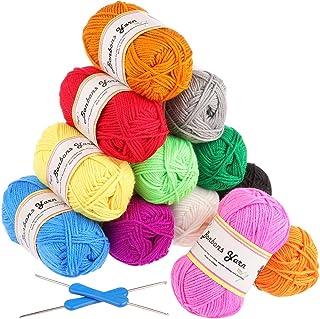 Fuyit Pelotes de Laine a Tricoter en Acrylique 600g (12x50g) avec 2 Crochet Gratuit 12 Couleurs Acrylique pour Tricot Idéa...