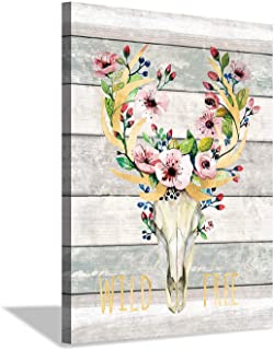 Deer Skull Canvas Wall Art: Dreamcatcher Flowers Artwork on Wood Texture Artwork for Dining Room (24'' x 18'' x 1 Panel)