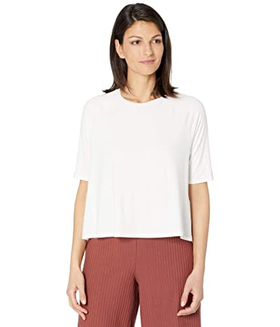 Eileen Fisher Fine Jersey Crew Neck Elbow Sleeve Top (White) Women