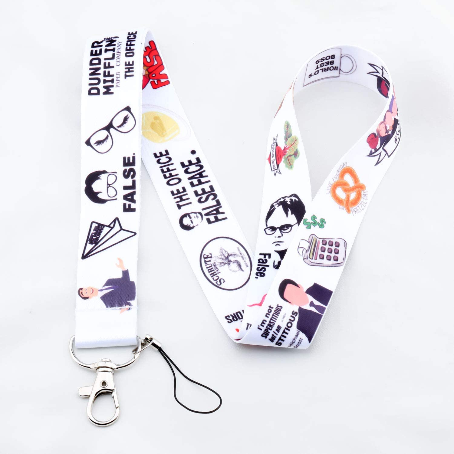 BEKECH TV Show The Office Inspired Gift The Office Dwight Schrute Character Lanyard Gift for The Office Lovers Girls Women Company TV Series Fans Gift