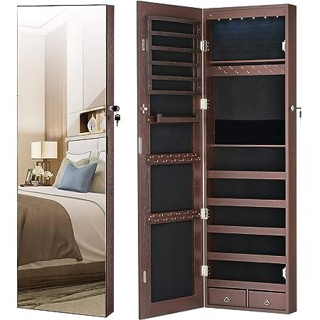 YOKUKINA Jewelry Mirror Armoire Cabinet, Large Storage Organizer w/LED Light, Door-Hanging/Wall-Mounted Lockable, Brown