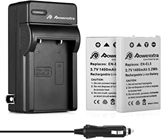 Powerextra 2 Pack EN-EL5 Replacement Battery and Charger Compatible with Nikon CoolPix P530, P520, P510, P100, P500, P5100, P5000, P6000, P90, P80, 4200, 5900, 7900, P3, P4, S10 Cameras