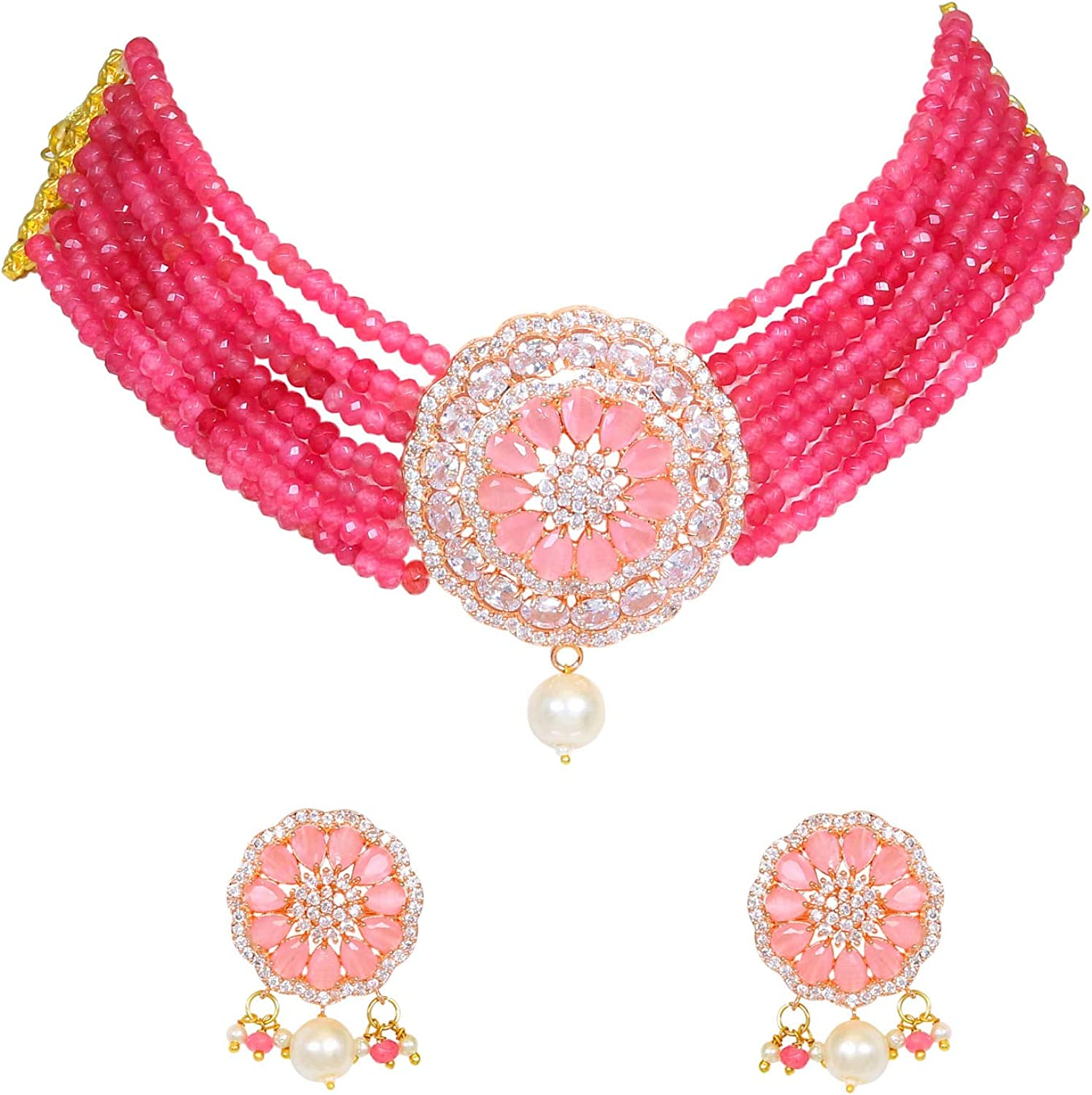 Sukh Collection Jewellery Crystal Elements CZ Stone Floral Shape Indian Bollywood Traditional Necklace Set for Women Wedding