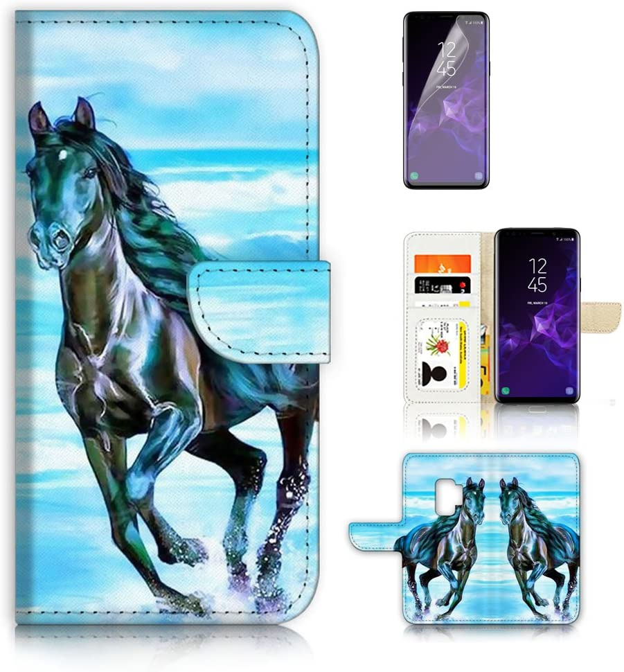 (for Samsung S9+ / Galaxy S9 Plus) Flip Wallet Case Cover & Screen Protector Bundle - A20254 Horse