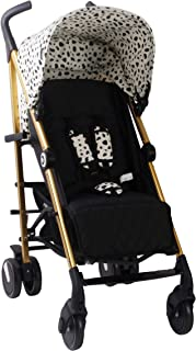 My Babiie US51 Catwalk Dalmatian Baby Stroller – Lightweight Baby Stroller with Carry Handle – Gold Frame and Dalmatian Canopy – Suitable from Birth – 33 lbs