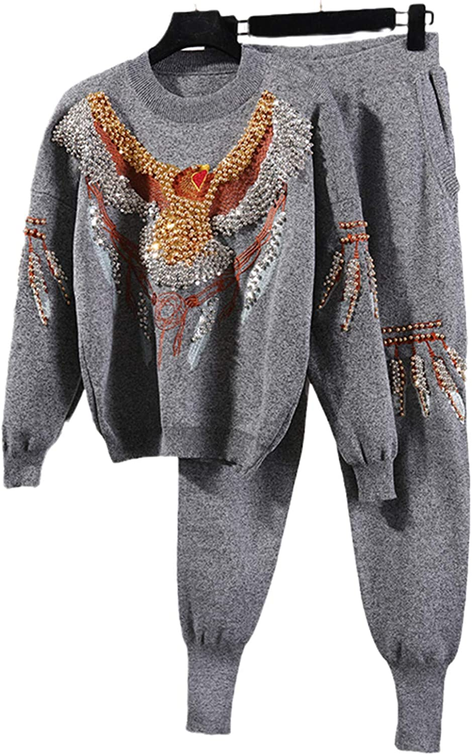 Autumn Weekly update Black Knitted Tracksuit Women Eagle Beading 2Pc Denver Mall Pullover