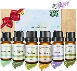 Janolia 6pcs Aceites Esenciales, Aceites para Humidificador y Difusor, Material de Plantas Naturales, Ideal para Hogar, Oficina, Dormitorio