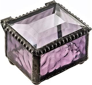 J Devlin Box 325 Series Mini Stained Glass Ring Box (Purple)
