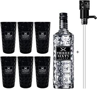 Three Sixty Vodka 3L 37,5% Vol  Pumpe  6x Black Longdrink Gläser schwarz -Enthält Sulfite