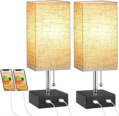 Lovebay 2 Pcs Lampe Chevet, Lampe Table & Bureau Moderne avec 2 Ports USB Charge Rapide et Interrupteur de Chaîne, E27 Lampe Abat-jour Tissu Veilleuse pour Chambre, Salon, Bureau (Beige)