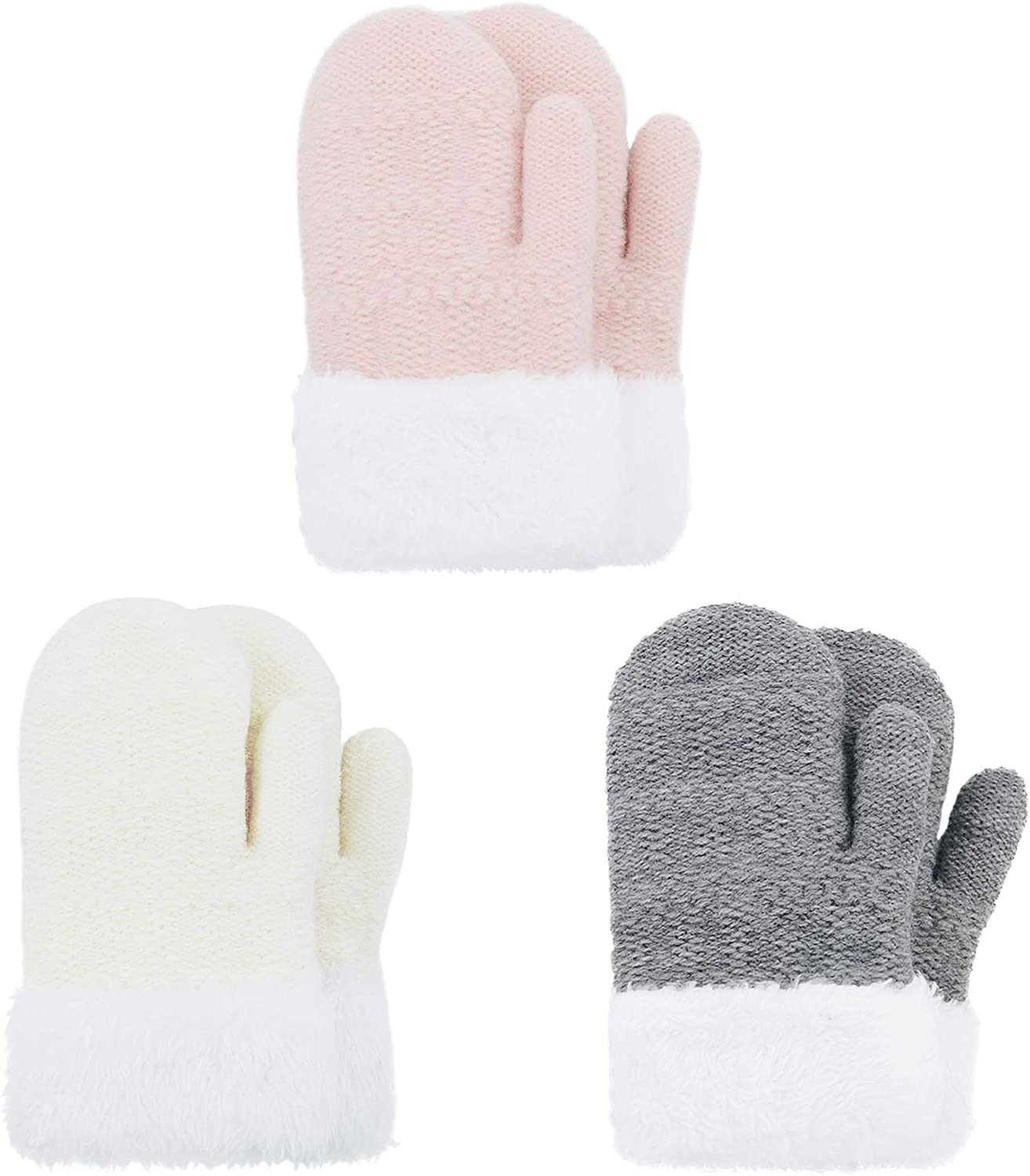 Kids Winter Toddler Mittens Multicolor Soft Knitted Gloves Thick Cold Protection Mitten