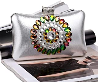 Fine Bag/Women's Vintage Style Beaded and Sequined Evening Bag Wedding Party Handbag Clutch Purse Banquet Bag (Color : Silver, Size : One Size)