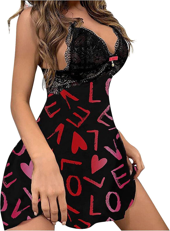 Lingerie for Women Sling Pajamas Nightdress Teddy Babydoll Mini Dress Deep V Neck Nightgown Sleepwear