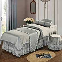 Massage Physiotherapy Bed Skirt Bedspread,Beauty Salon Bedspread Four-Piece Suit Lace Cotton Linen Beauty Mattress Cover