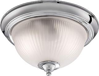 Argento satinato Searchlight 4042 Plafoniera da bagno con vetro opaco a coste colore