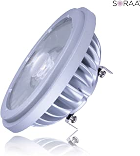 3000K Dimmable LED 60W Equal 12.5W AR111 Narrow Spot G53 Push-In or Push-Screw Base Soraa 01403