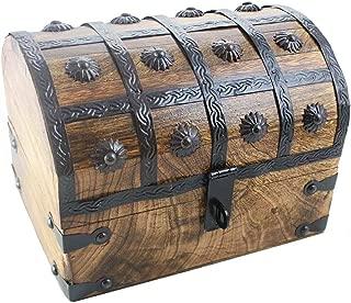 Well Pack Box Treasure Chest Wood Keepsake Jewelry Box Toy Treasure Box, Large