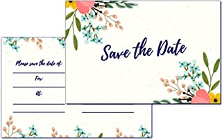 30 Save The Date Cards for Wedding, Engagement, Anniversary, Baby Shower, Birthday Party, Postcard Invitations, Blank Event Announcements, Floral