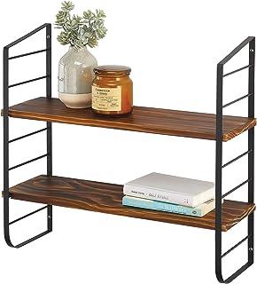 mDesign étagère murale moderne à 2 tablettes – étagère bois avec monture en métal – meuble de rangement suspendu pour sall...