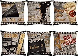 Movie Theater Throw Pillow Covers Vintage Cinema Poster Design With Popcorn,Filmstrip,Clapboard Pattern Cushion Cover Old Fashion Icons Home Decorative Pillowcases 18 X 18 Inch,Set of 6