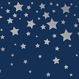 Tempaper Kids Navy and Silver Falling Stars | Designer Removable Peel and Stick Borders and Stripes