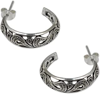 925 Sterling Silver Half Hoop Post Earrings, 30mm, Moon in the Forest'