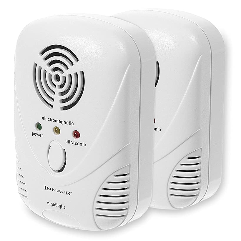 INNAV8 Ultrasonic Pest Repeller Plug-In - ALL NEW 2019 Natural Indoor Pest Reject with 2-Band Tech - Pest Defender Against Insect Mouse Bug Rodent Mosquito - Pest Control Ultrasonic Repellent (2-Pack)