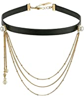 Steve Madden - Leather Choker with Casted Pearl/Chain Necklace