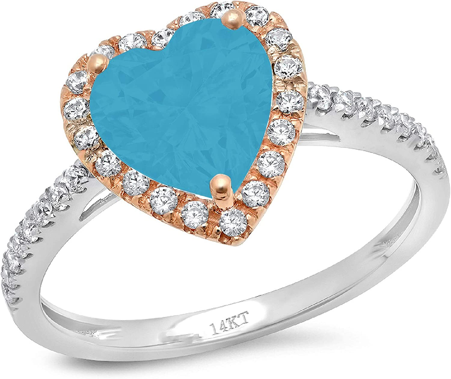 2.3ct Brilliant Heart Cut Solitaire with Accent Halo Flawless Ideal VVS1 Simulated Blue Turquoise CZ Engagement Promise Statement Anniversary Bridal Wedding Designer Ring 14k 2 Tone Gold