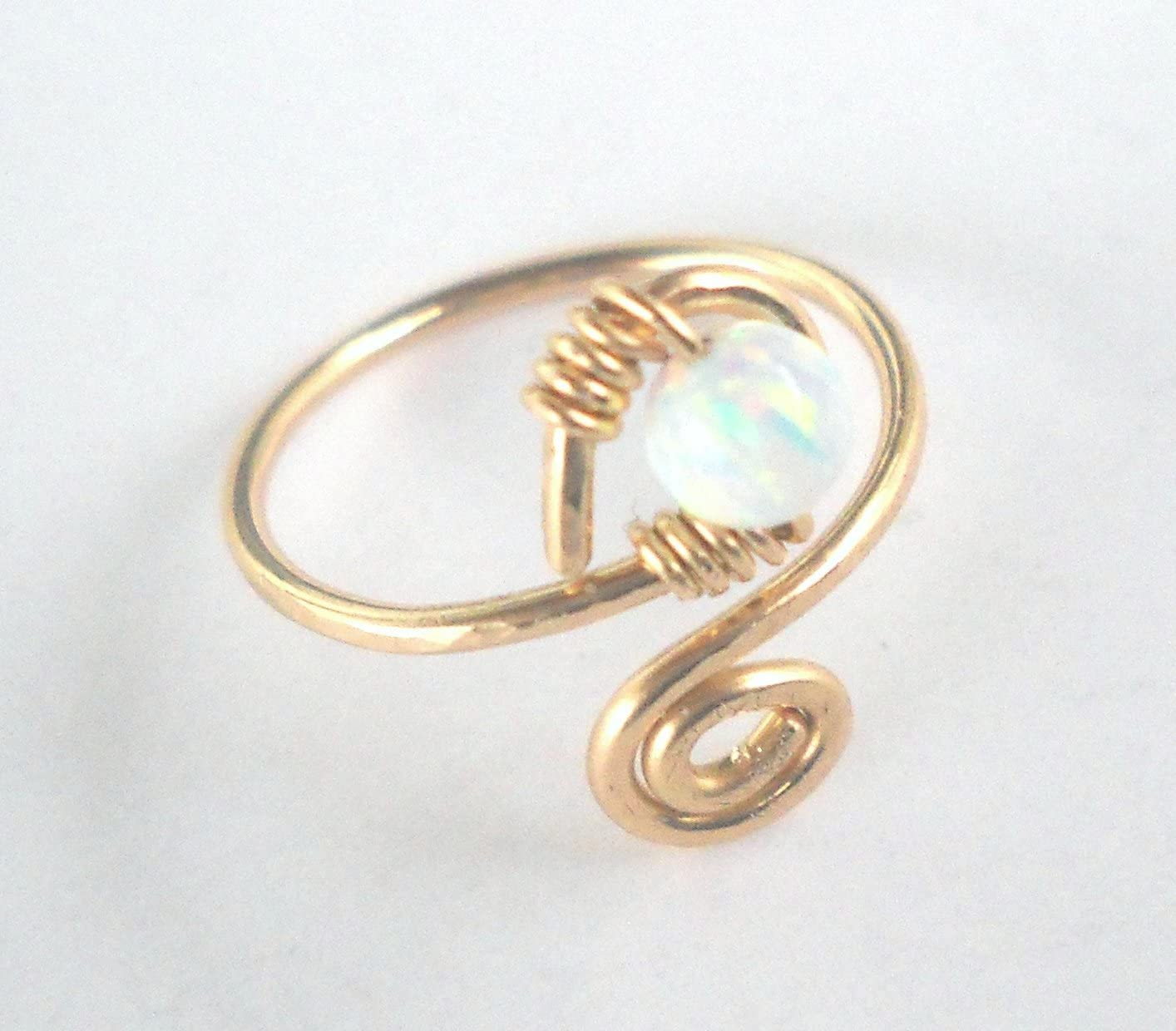 14K Solid Gold White Fire Opal Wrapped Hammered Spiral Toe-Midi-Knuckle Ring Adjustable Size