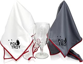 LARGE Microfiber Polishing Cloths (2 Pack White | Gray) | Streak Free, Lint Free Shine And Clarity For Wine Glasses, Stemware And More
