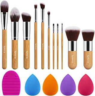 Syntus Bamboo Makeup Brush Set, 11 Makeup Brushes & 4 Blender Sponges & 1 Brush Cleaner Premium Synthetic Foundation Powder Kabuki Blush Concealer Eye Shadow Makeup Brush Kit