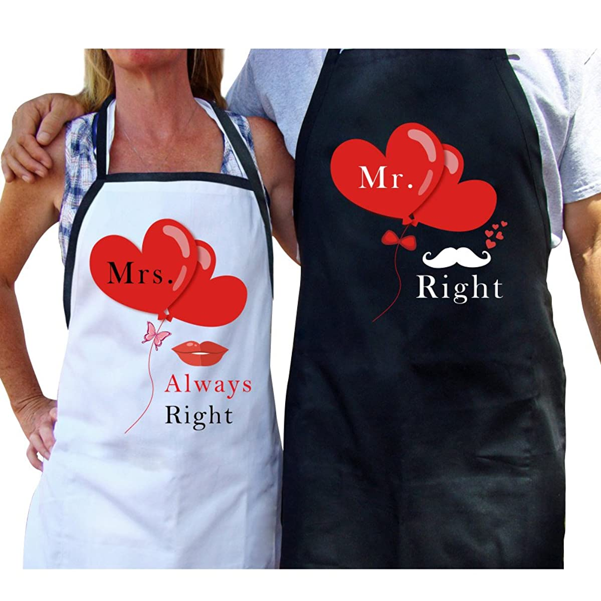 AerWo Mr. and Mrs. Aprons, Latest Couple Matching Aprons for His Hers Wedding Gift and Bridal Shower Gift for Couples. Perfect Engagement Gift and Kitchen Cooking Set