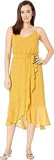 Women's Ruffled Hem Belted Cami Dress