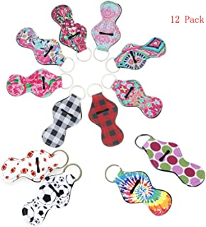 Lipstick Balm Holder Keychain Chapstick Key Chain Holder,Vibrant Prints Lip Blam Keychain (Style2-12 Pcs)