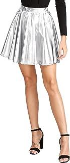 Women's Disco Shiny Metallic Flare Skater Skirts