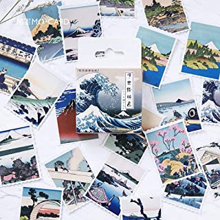Small Postage Stamp Stickers, 46pcs Doraking Boxed DIY Decoration Stamp Stickers for Laptop, Planners, Scrapbook, Suitcase, Postcard, Gift Card, Envelopes(Ukiyoe, 46pcs/Box)