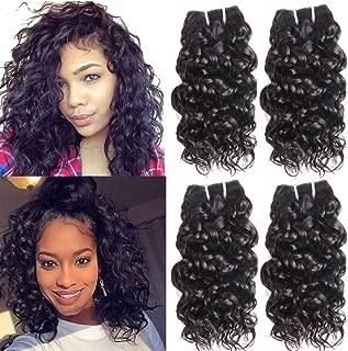 Brazilian Water Wave Human Hair Bundles Ms Taj 10A Wet and Wavy Human Hair Weave Bundles 100% Unprocessed Virgin Human Hair Short Water Curly Hair Bundles 50g/Bundle Natural Black (water 8 8 8 8)
