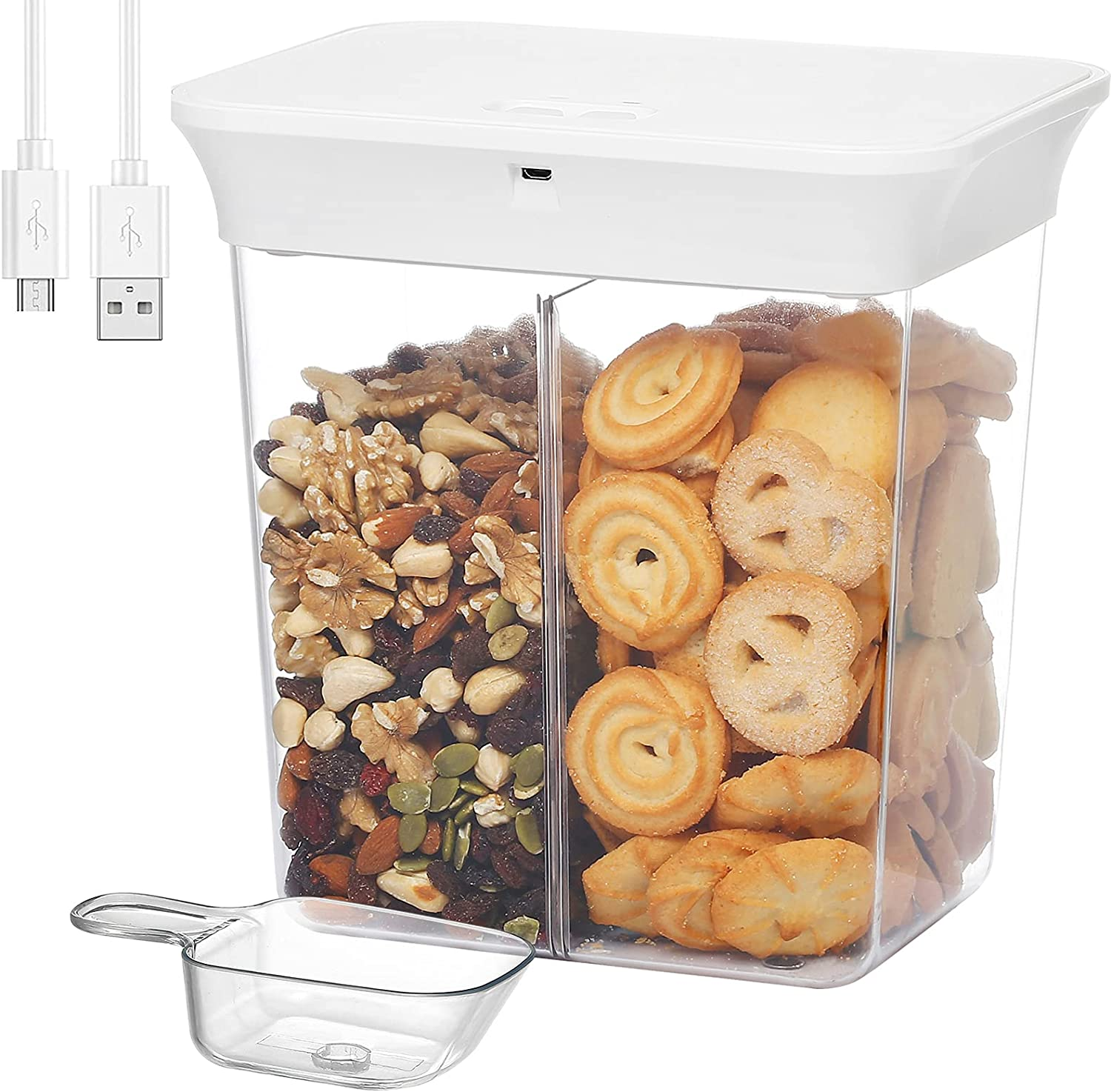 YOUDU Vacuum Food Storage Containers: Airtight Lids Smart Vacuum Auto Storage Container for Flour Sugar Cereal Meat Vegetable Rice Fruit Coffee Pet Food Kitchen & Pantry Organization