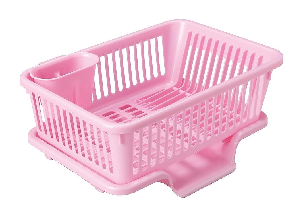 拾う穴下にカワタキコーポレーション 水切りラック ピンク サイズ:45×32.6×19.4cm