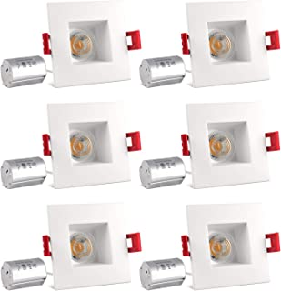 Luxrite 3 Inch Square LED Recessed Light with Junction Box, 8W (50W Equivalent), 5000K Bright White, 600 Lumens, Dimmable LED Downlight, Damp Rated, Regressed Trim, Energy Star, IC Rated (6 Pack)