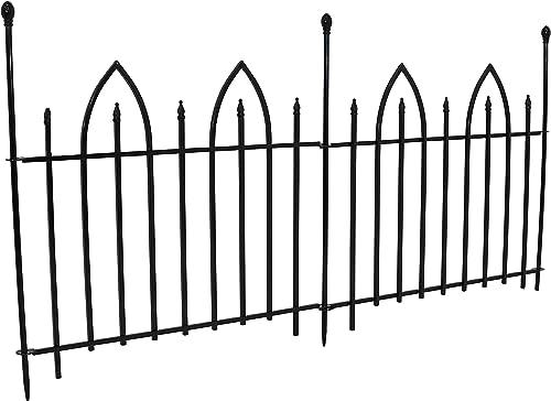 Sunnydaze 2-Piece Decorative Gothic Arch Landscape Metal Border Fence, Black, 37 Inches x 31 Inches Per Panel, 6 Feet Overall