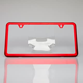 Circle Cool Red Chrome Powder Coated Stainless Steel License Plate Slim Two Hole Frame Holder Bracket