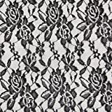 Fabulous Fabrics Spitze schwarz, Blume, 150cm breit –