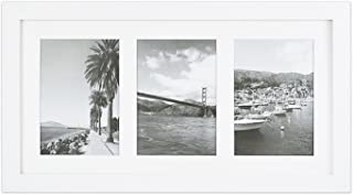 Golden State Art, 9x18 White Photo Wood Collage Frame, for (3) 5x7 Pictures with White Mat and Real Glass